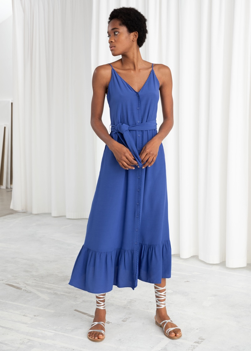 & Other Stories Belted Button Up Midi Dress $99
