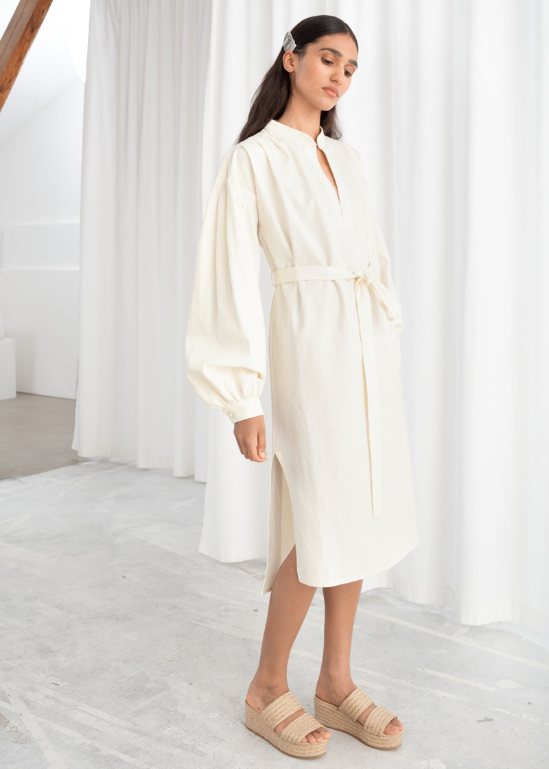 & Other Stories Belted Cotton Linen Midi Dress $99