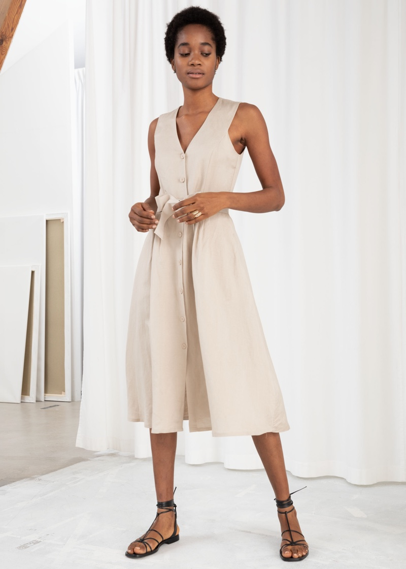 & Other Stories Belted Linen Blend Midi Dress $99