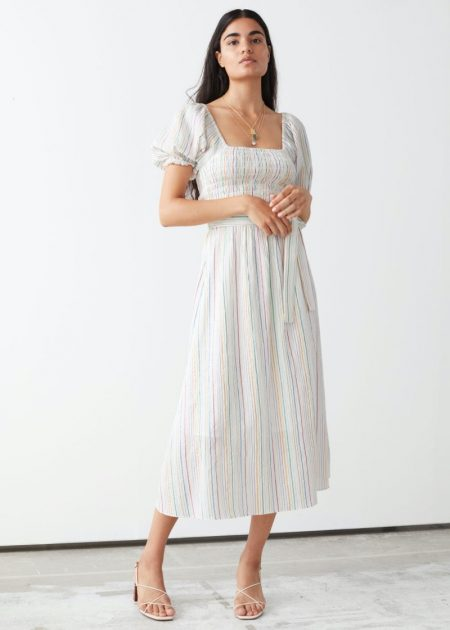 & Other Stories Belted Puff Sleeve Midi Dress in Multi Stripes $119