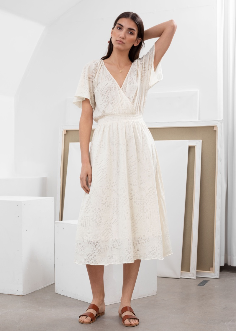 & Other Stories Cotton Blend Coffee Bean Print Midi Dress $89
