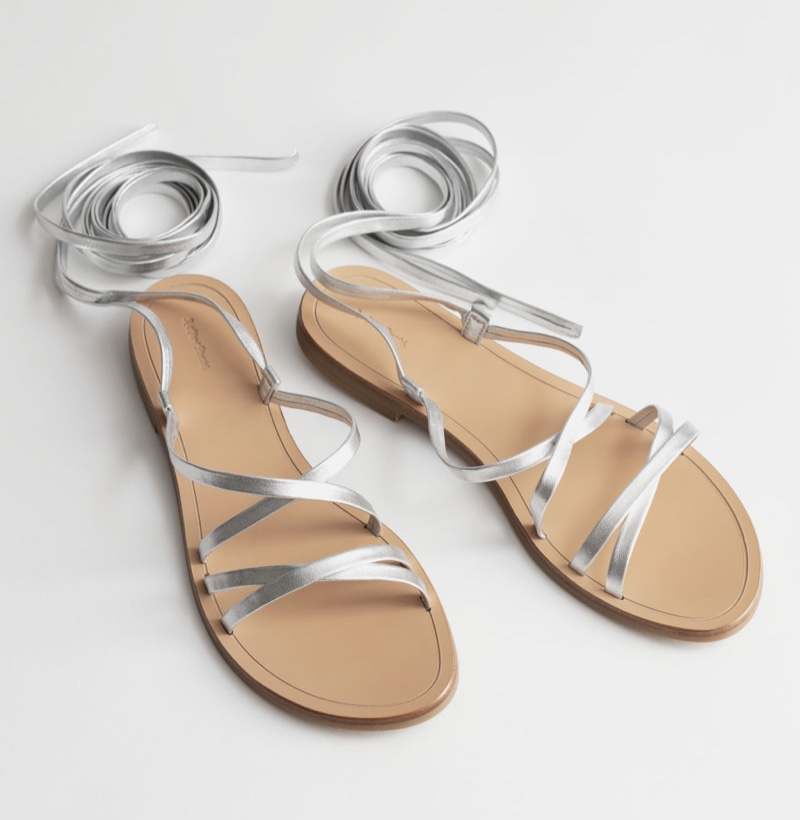 & Other Stories Criss Cross Leather Lace Up Sandals $79