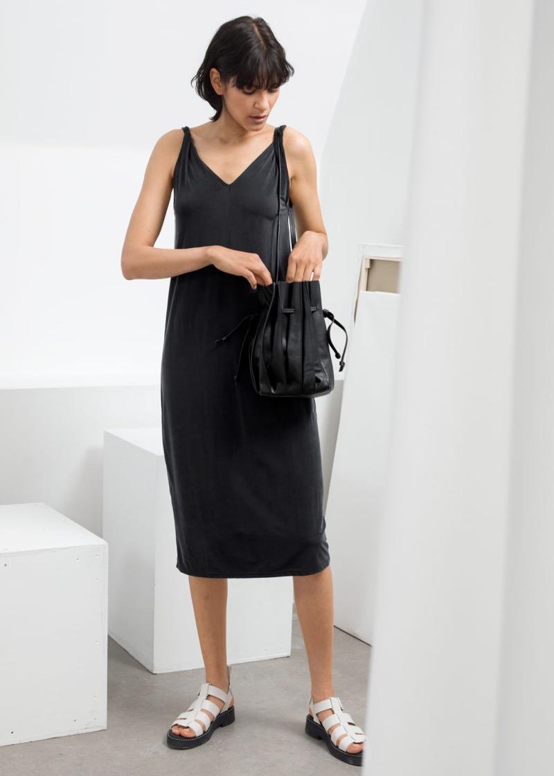 & Other Stories Cupro Blend Midi Dress $82
