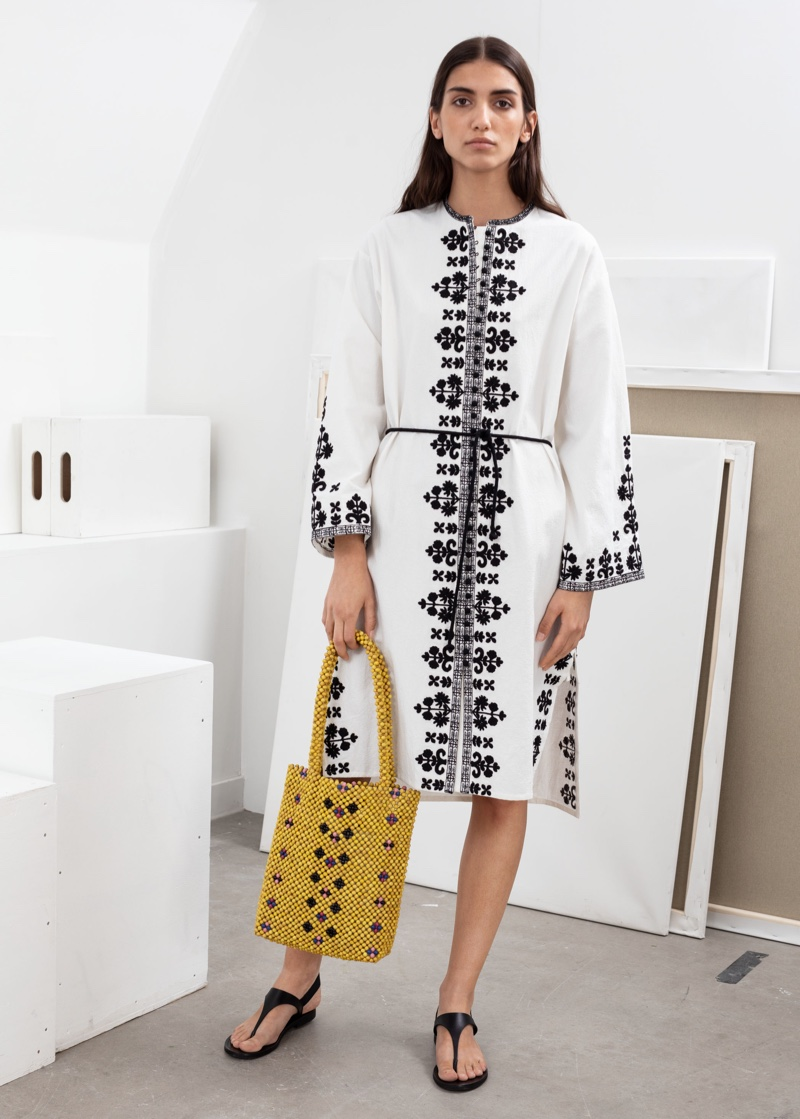 & Other Stories Embroidered Cotton Kaftan $99