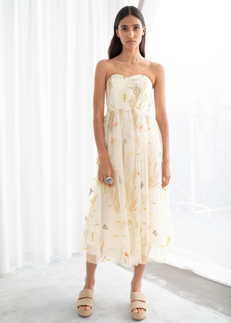 & Other Stories Embroidered Recycled Polyester Tulle Dress $249
