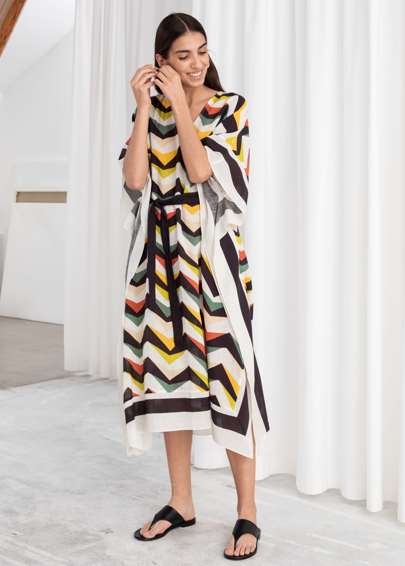 & Other Stories Graphic Belted Lyocell Linen Kaftan $119