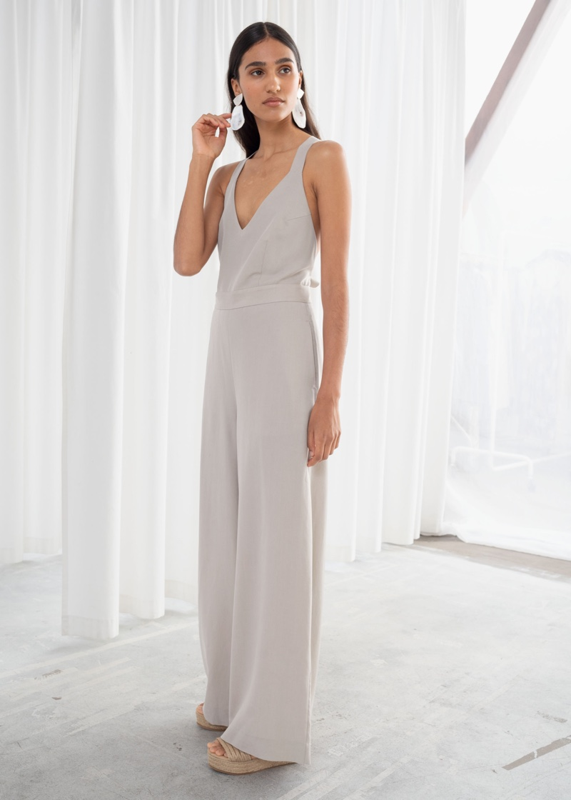 & Other Stories Lyocell Criss Cross Back Jumpsuit $129