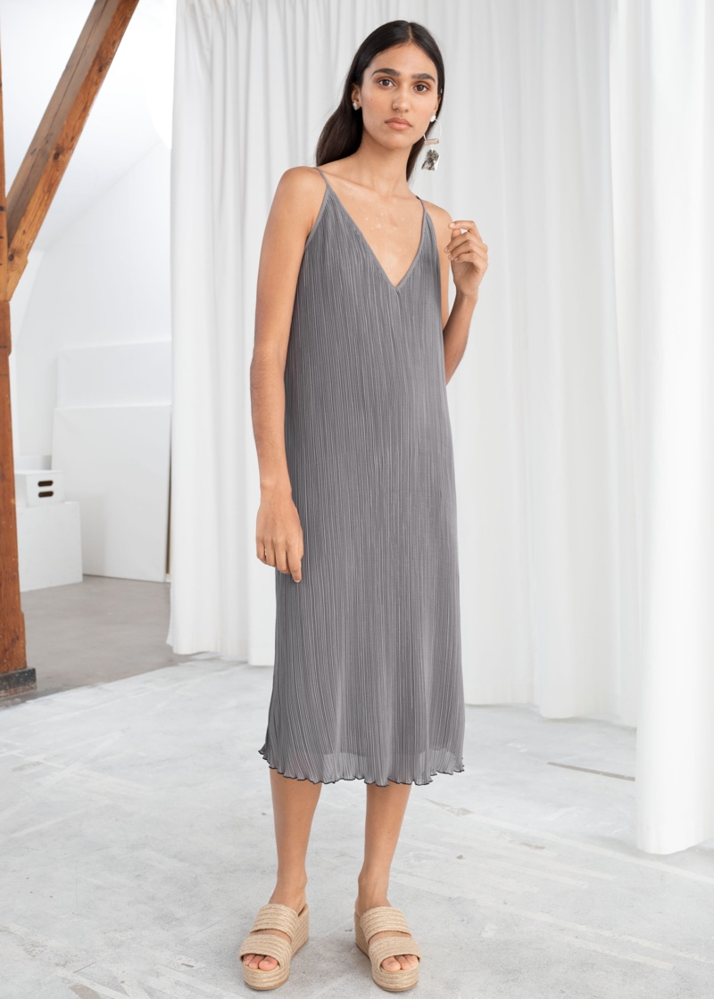 & Other Stories Pleated Recycled Polyester Blend Midi Dress $99