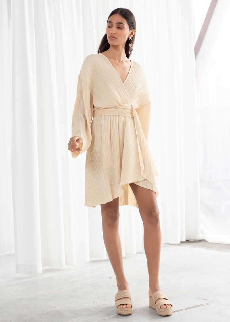 & Other Stories Plissé Pleated Recycled Polyester Blend Dress $129