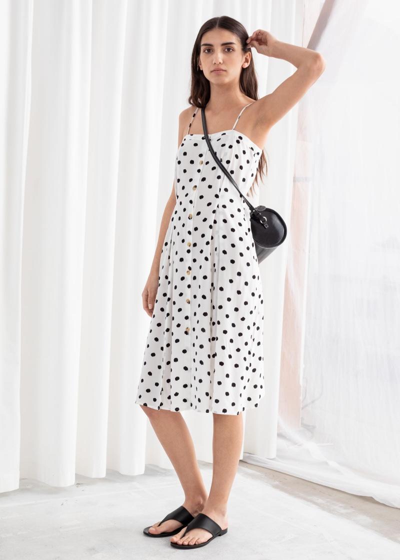 & Other Stories Polka Dot Button Up Midi Dress $69