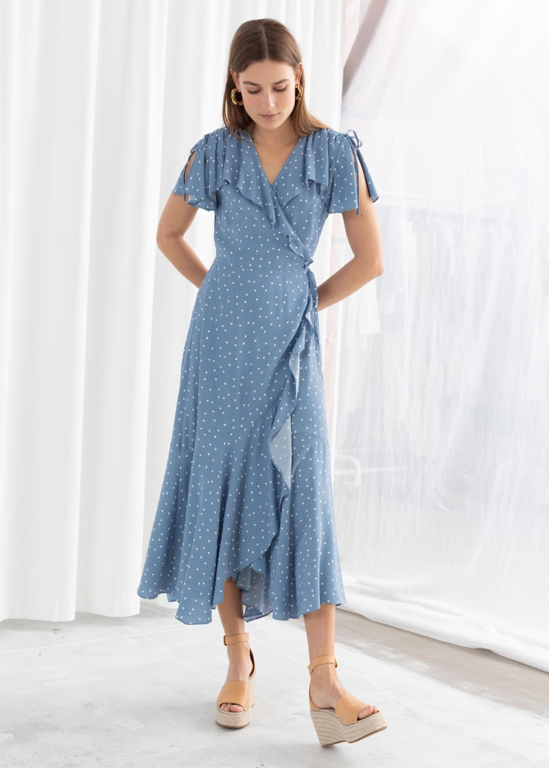 & Other Stories Polka Dot Handkerchief Wrap Midi Dress $99
