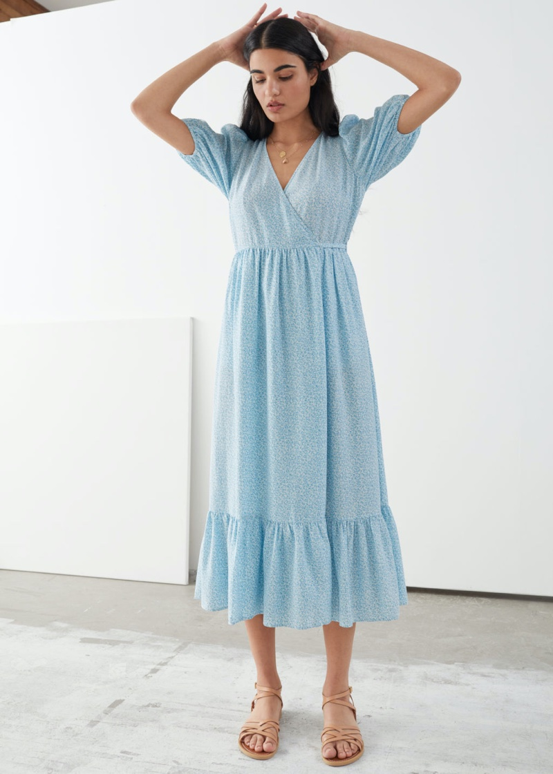 & Other Stories Puff Sleeve Wrap Maxi Dress in Blue Print $129