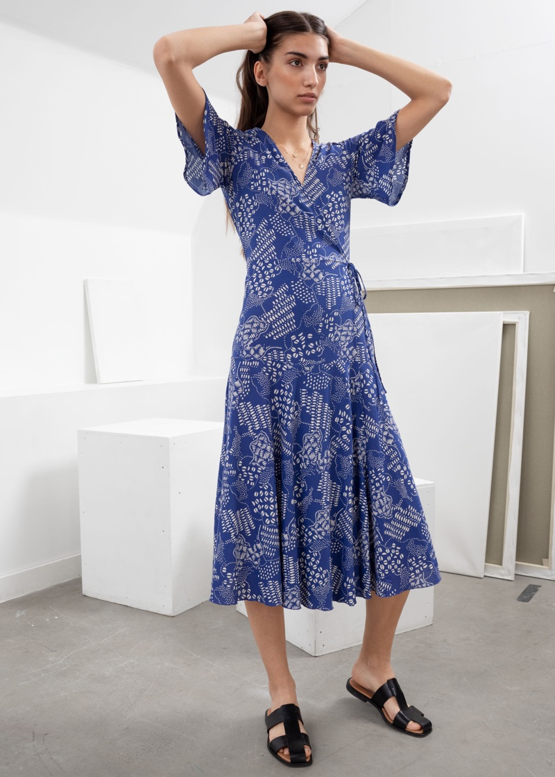 & Other Stories Ruffle Sleeve Cotton Wrap Dress $89