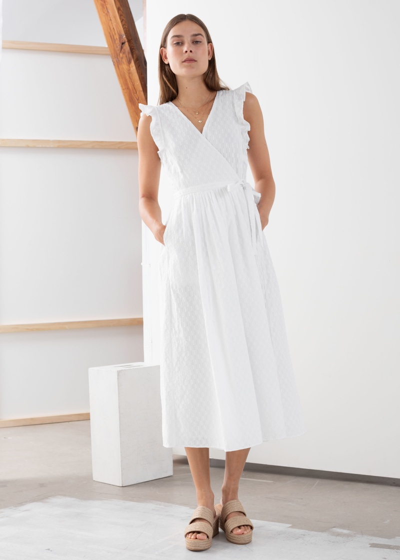 & Other Stories Ruffled Cotton Dobby Midi Dress $119