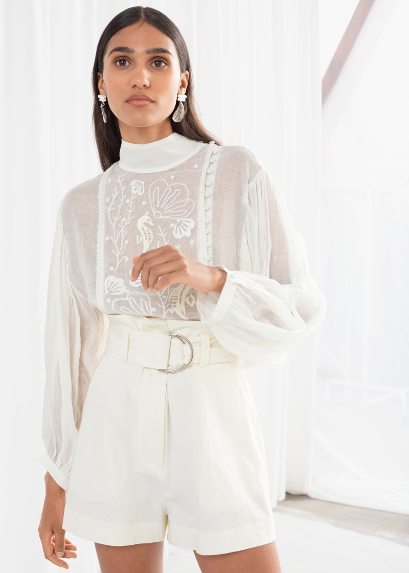 & Other Stories Sheer Embroidered Linen Blend Blouse $99