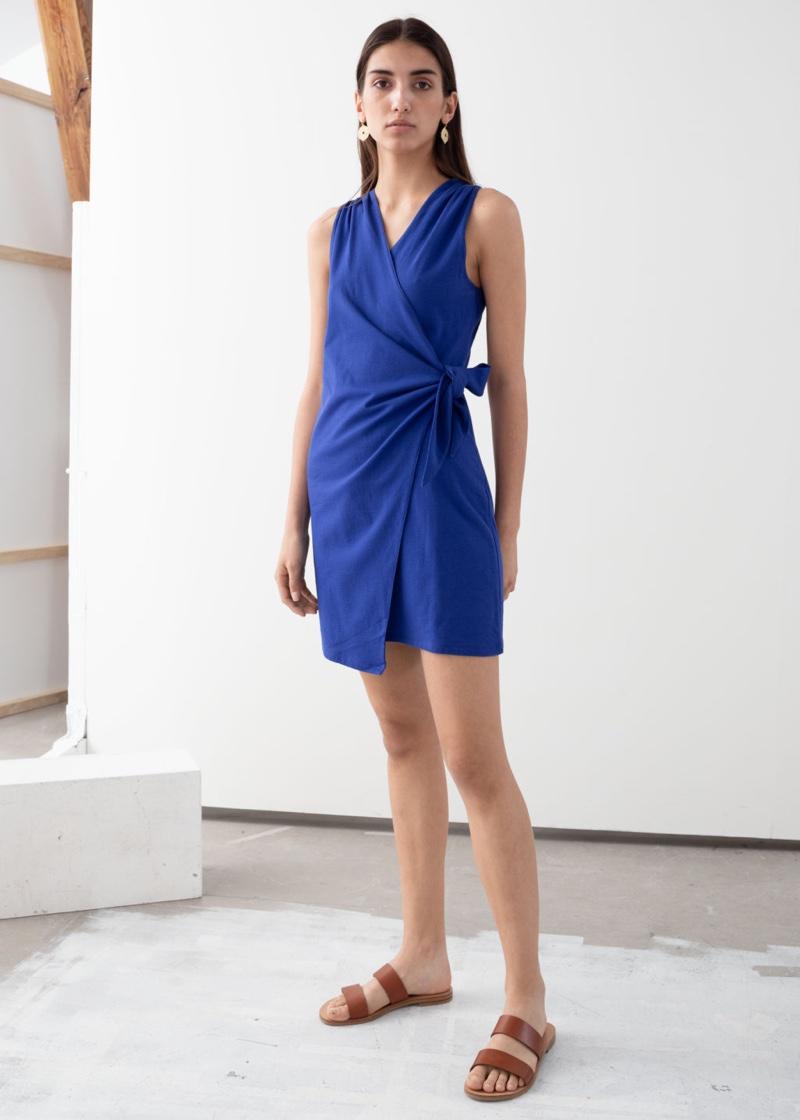 & Other Stories Sleeveless Cotton Mini Wrap Dress $69