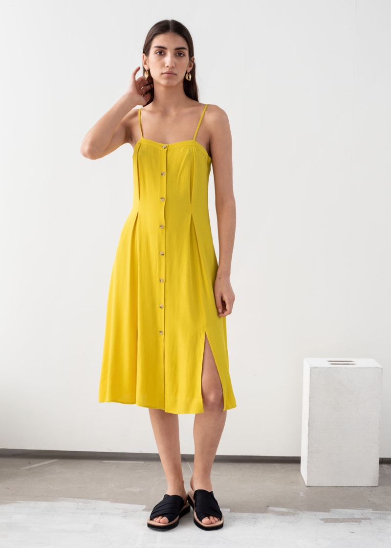 & Other Stories Square Neck Button Up Midi Dress $69