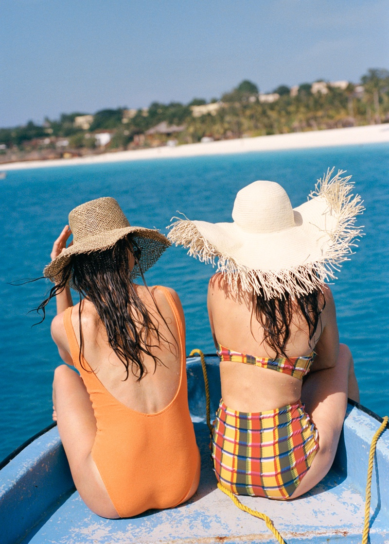 (Left) & Other Stories Straw Fedora Hat $49 and Waist Tie Swimsuit $59 (Right) & Other Stories Striped Bikini Top $25, Striped High Bikini Bottoms $29 and Fringe Straw Sun Hat $49