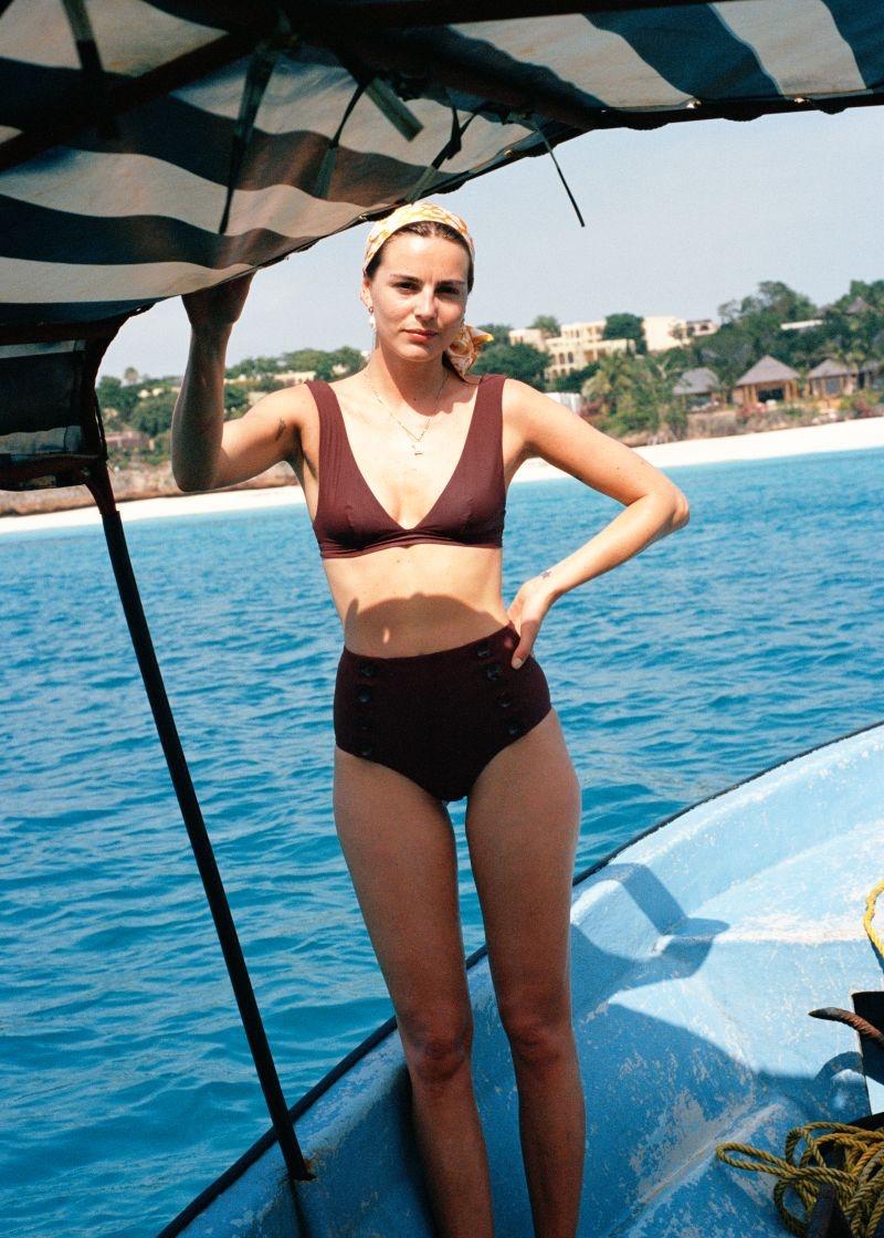 & Other Stories V-Cut Bikini Top in Rust $29