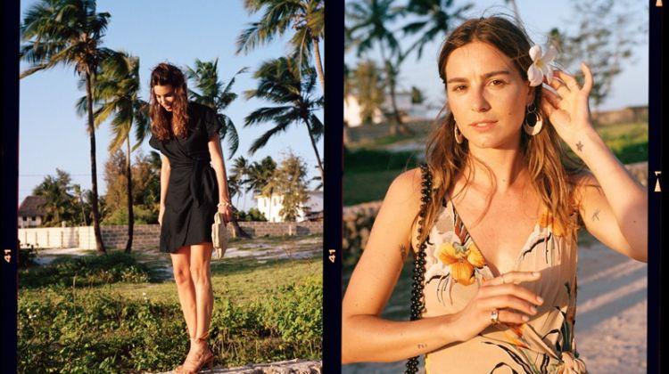 & Other Stories Tropical Print Midi Wrap Dress $99, Black Linen Blend Wrap Mini Dress $89 and Salmon Waist Knot Midi Dress $119