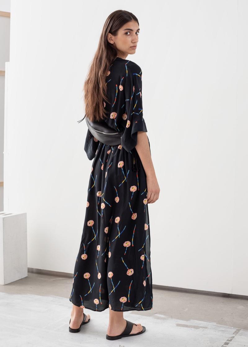 & Other Stories V-Neck Floral Silk Kaftan $179
