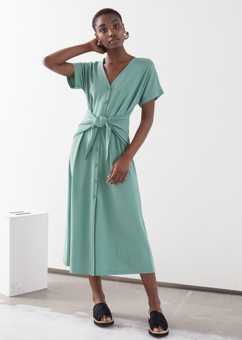 & Other Stories Waist Tie Midi Dress $99