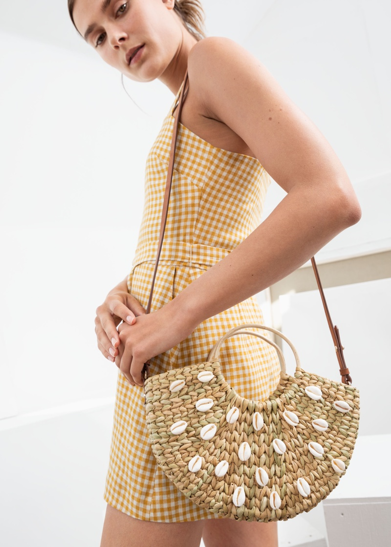 & Other Stories Woven Puka Shell Tote Bag $79