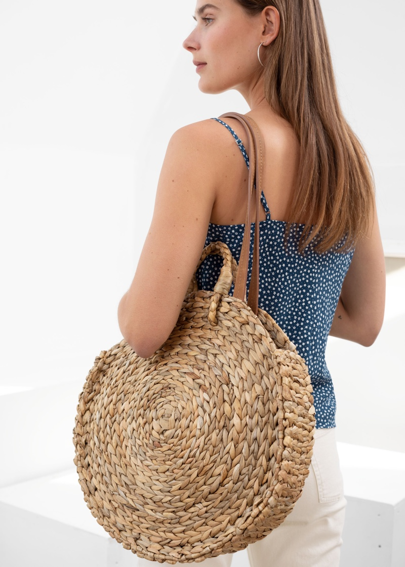 & Other Stories Woven Straw Circle Bag $79