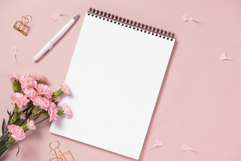 Planning Pink Calendar Pen Flowers