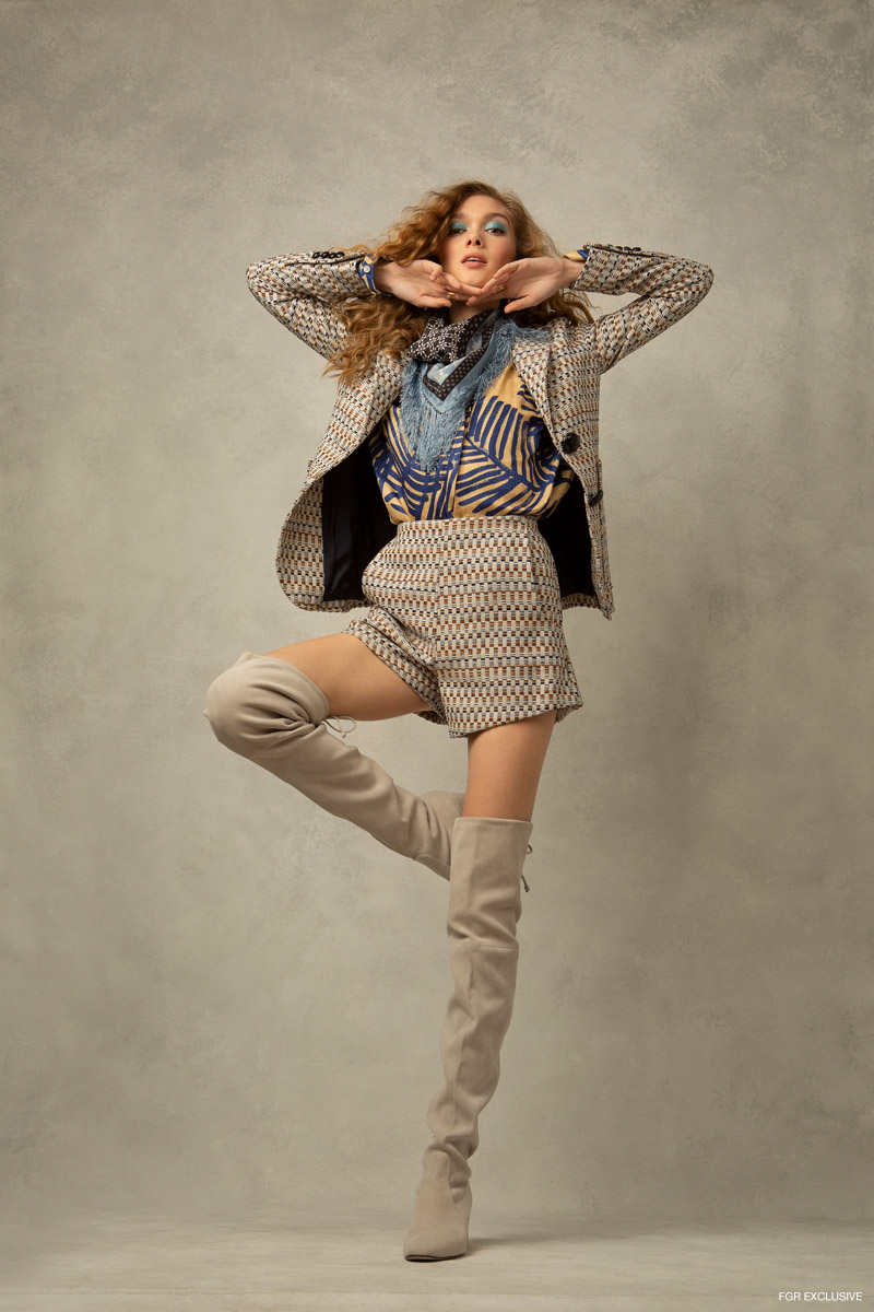 Scarf Mona Sultan, Blazer, Shorts & Blouse SMYTHE;  Ring The 9th Muse and Boots Stuart Weitzman. Photo: Emily Teague