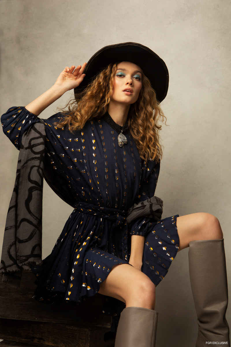 Hat Karema Deodato Millinery, Necklace Loree Rodkin, Dress RHODE, Wrap Robe de Voyage and Boots Stephen Venezia. Photo: Emily Teague