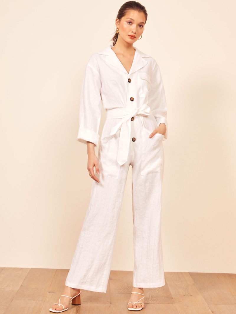 Reformation Cade Jumpsuit in White $248