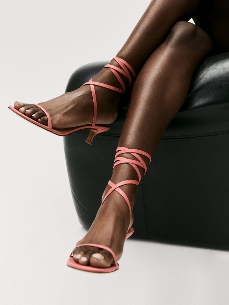 Reformation Carina Lace Up Mid Heel Sandal in Strawberry $248