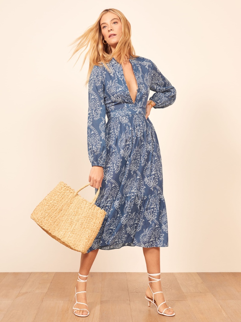 Reformation Delilah Dress in Blue Paisley $248