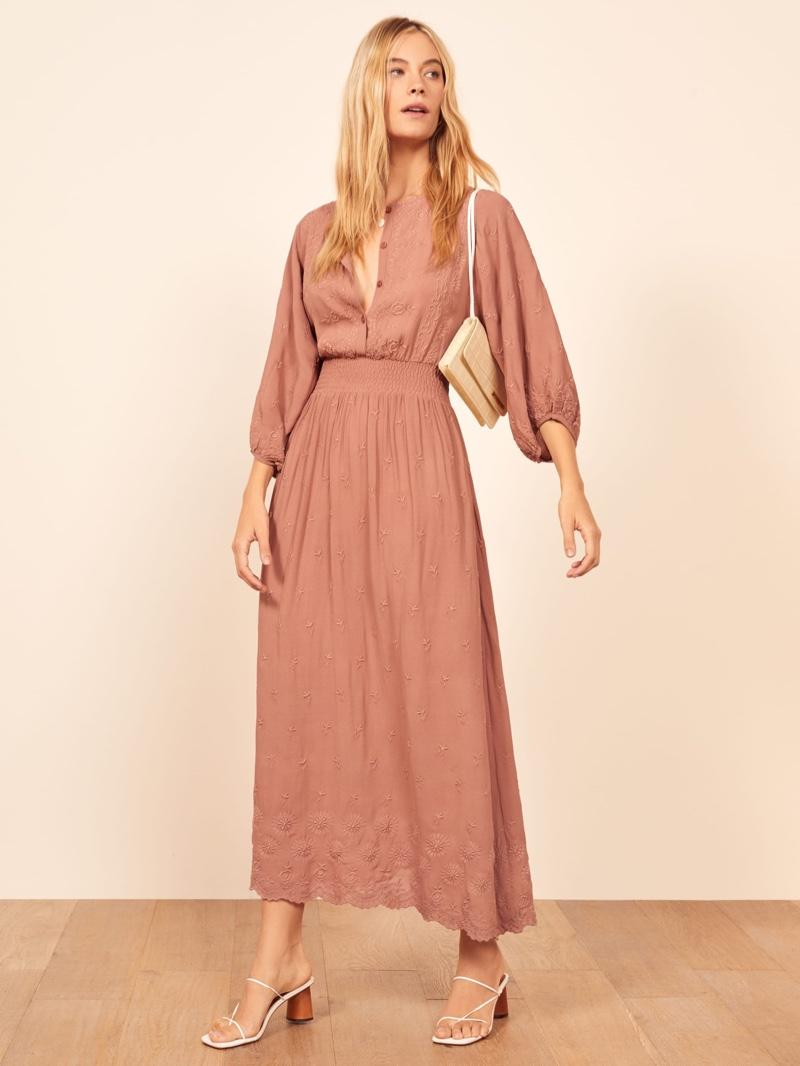 Reformation Melodie Dress in Praline $248