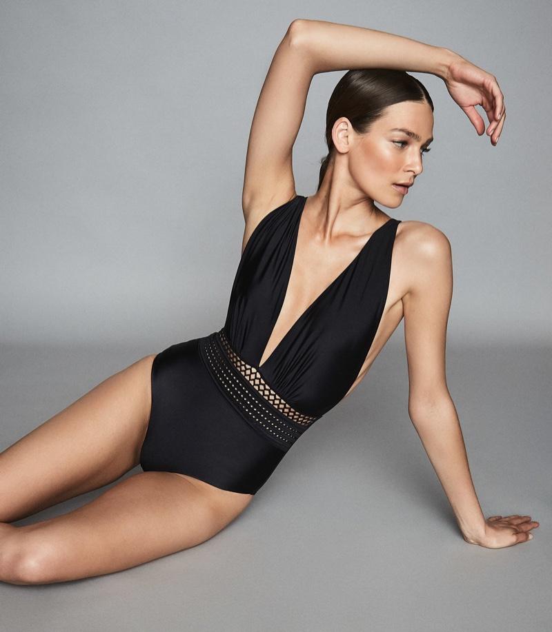 Reiss Laila Plunge Front Swimsuit $160