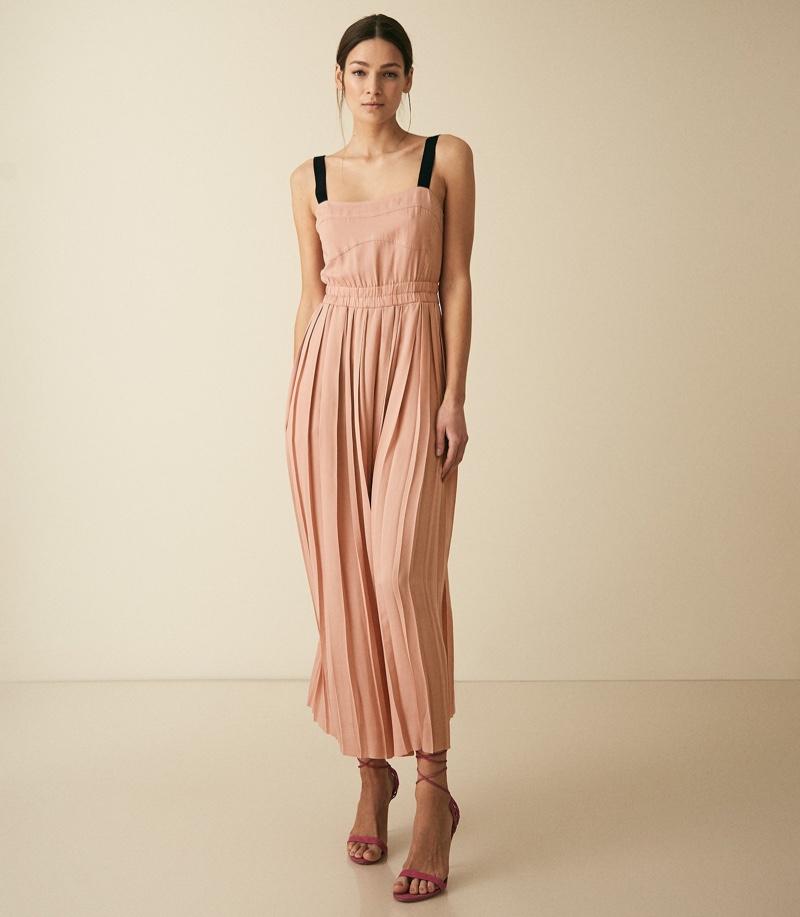 Reiss Luella Pleated Maxi Dress in Blush $370