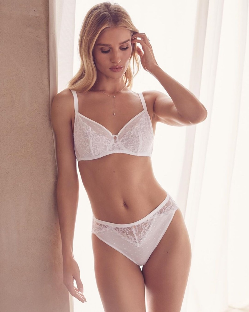 Rosie Huntington-Whiteley poses in Autograph Lingerie 2019 collection