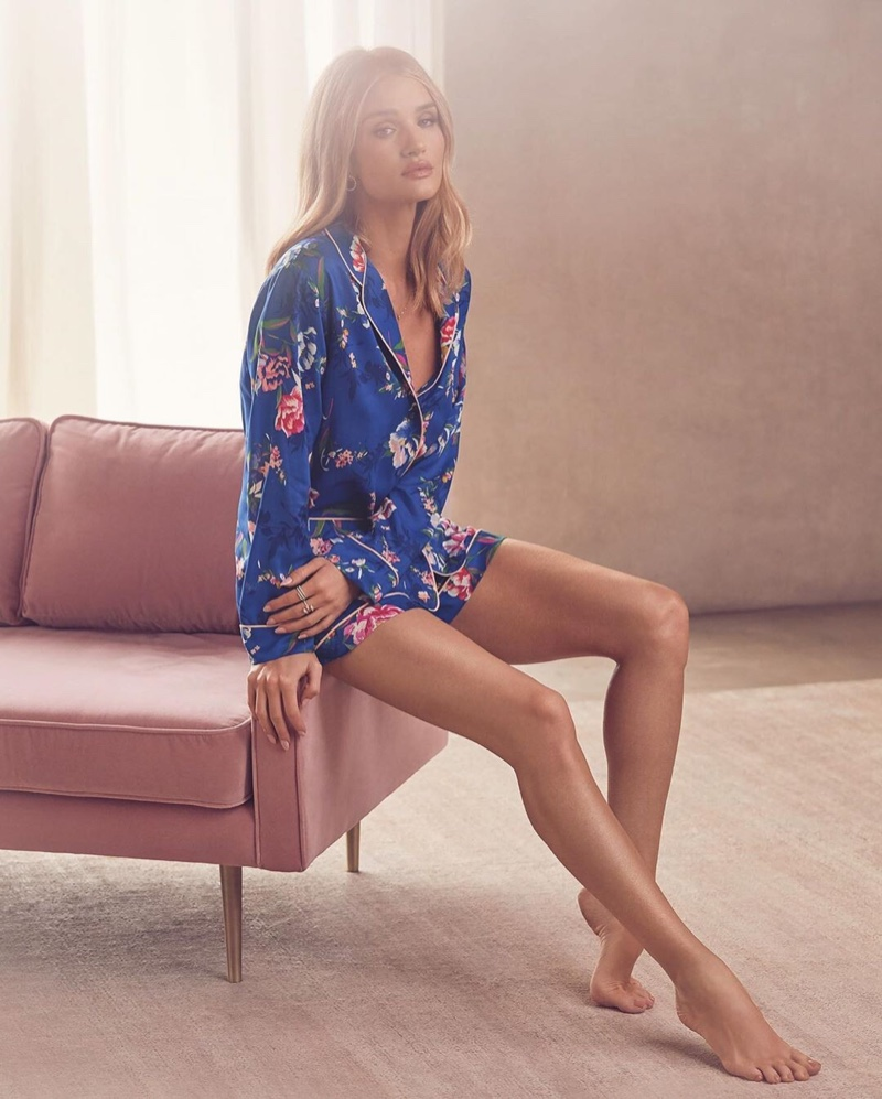 Embracing print, Rosie Huntington-Whiteley appears in Marks & Spencer - Autograph Lingerie 2019 campaign