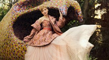 Ruth Bell Poses in Dramatic Floral Fashion for Harper's Bazaar