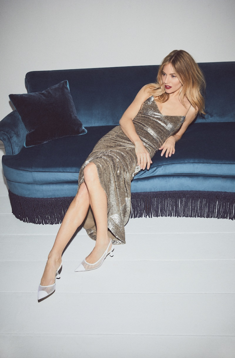 Turning up the shine factor, Sienna Miller wears Jimmy Choo Fetto pumps