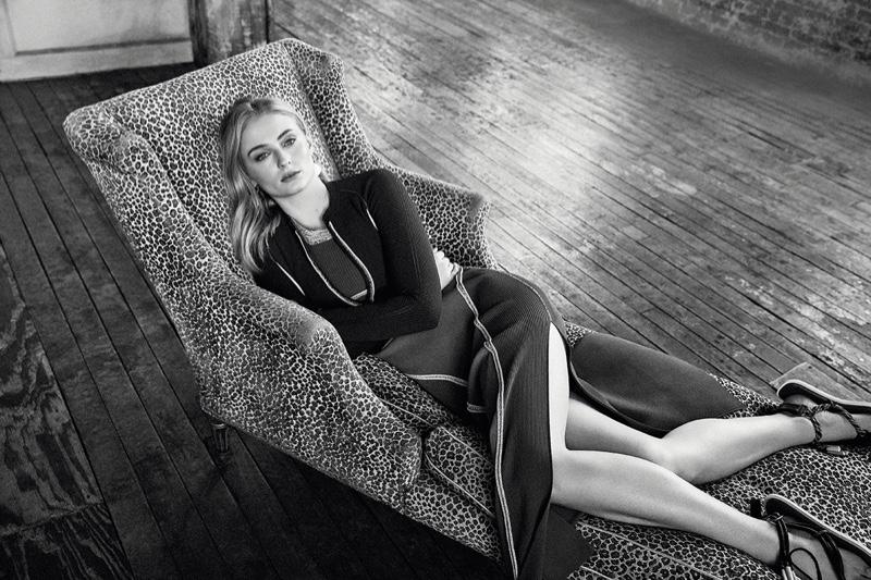 Sophie Turner poses in Sportmax look