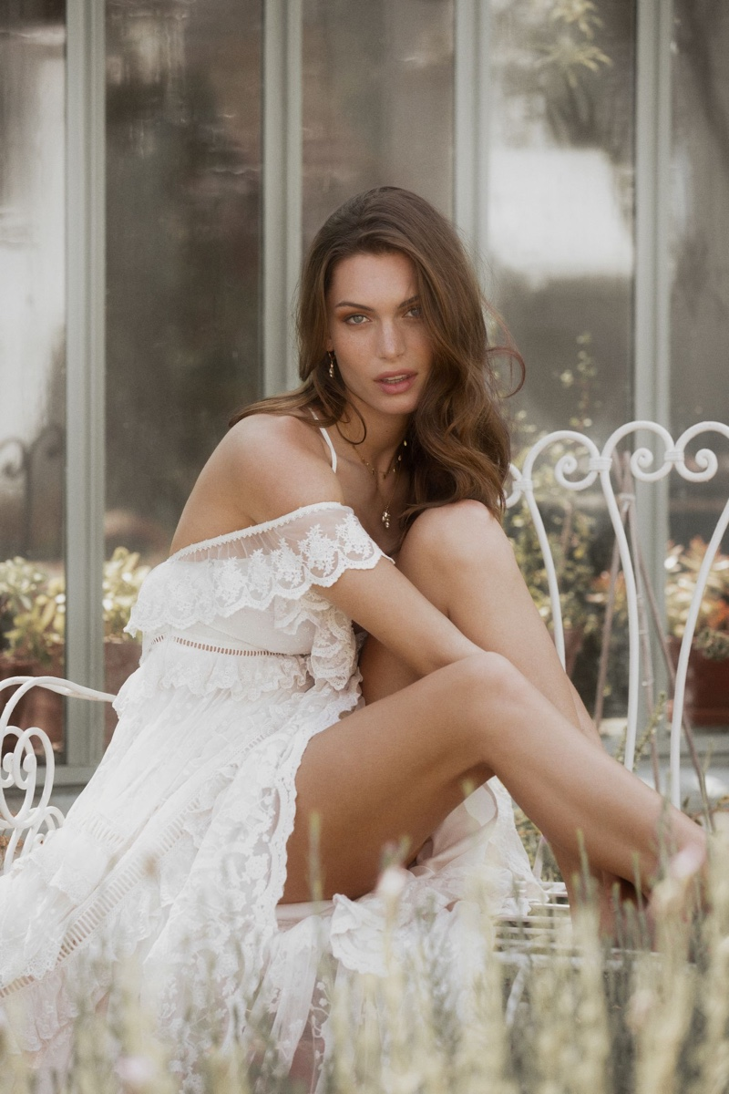 Model poses in Chloe gown from Spell & the Gypsy Collective Bridal 2019 collection
