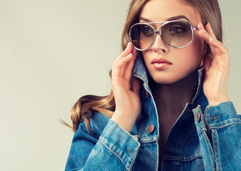 Stylish Model Sunglasses Denim Jacket