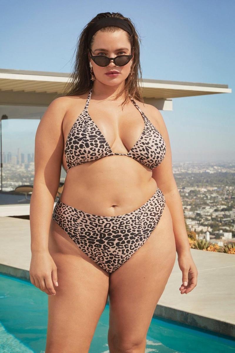 Rocking leopard print, Tara Lynn poses in Nasty Gal Swim Curve campaign