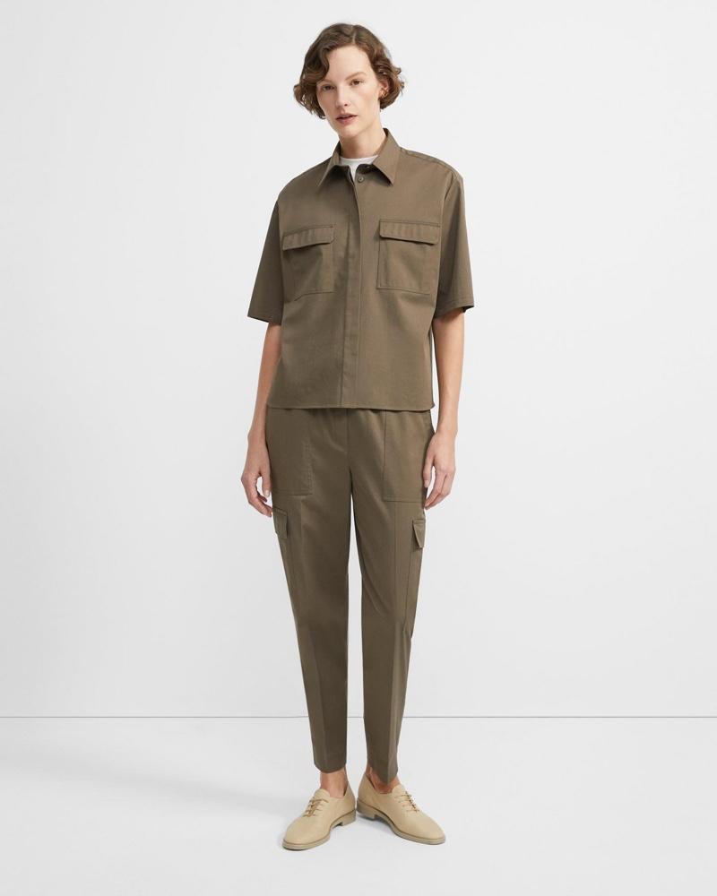 Theory Stretch Chino Short-Sleeve Classic Shirt $275