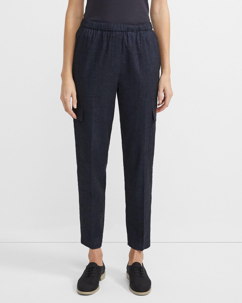 Theory Textured Good Linen Easy Cargo Pant $345
