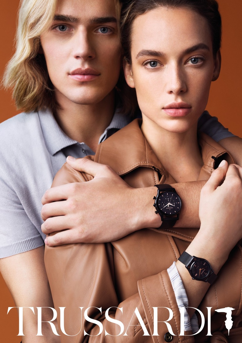 Hannah Ferguson and Ton Heukels wear watches in Trussardi spring-summer 2019 campaign