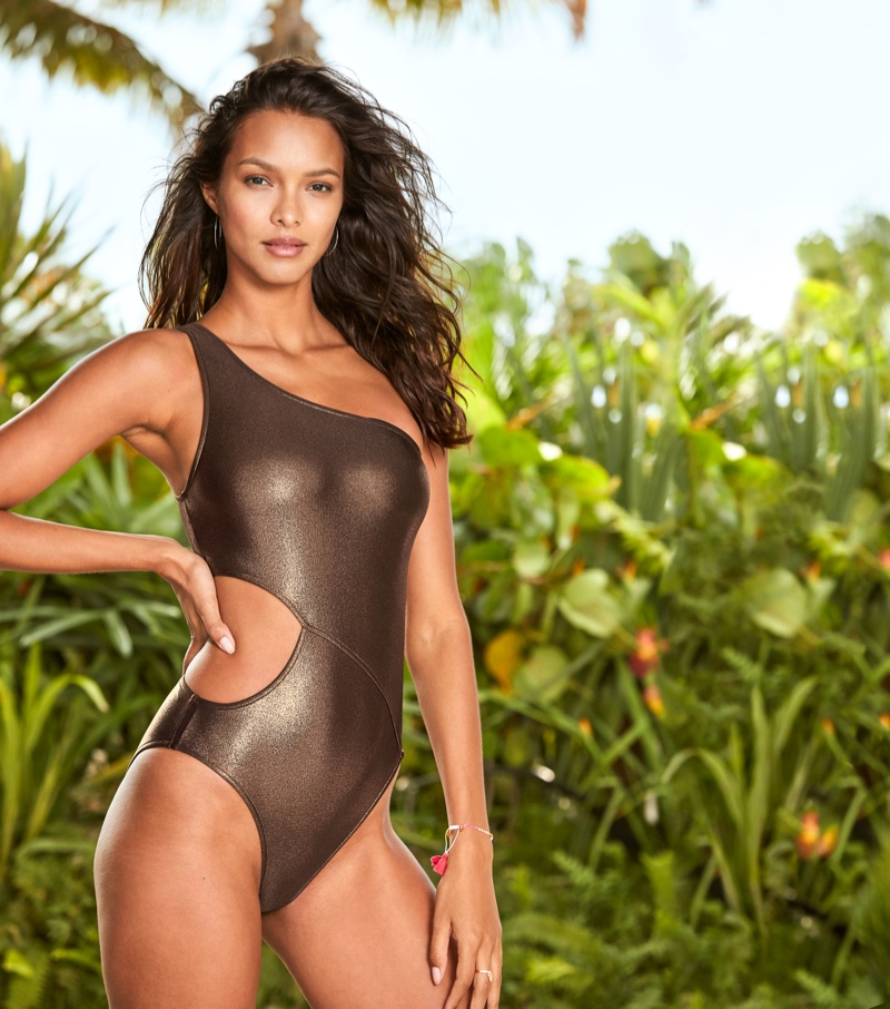 Lais Ribeiro wears an asymmetrical one-piece swimsuit from Victoria's Secret