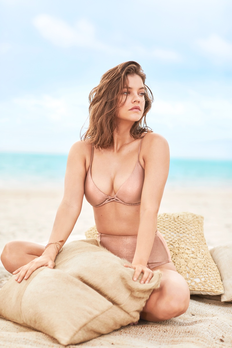 Barbara Palvin poses in Victoria's Secret scooped underwire top and high-waist bottom